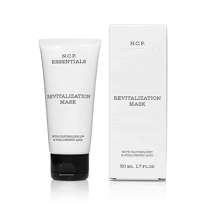 Vegan skin care from N.C.P Essentials, a white tube with black text and black cap and a protecting packininge box. Revitalization Mask.