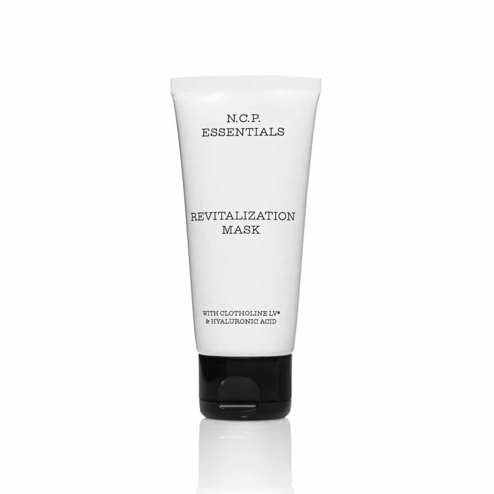 Vegan skin care from N.C.P Essentials, a white tube with black text and black cap. Revitalzation Mask.